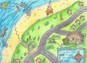 Students create a memory map illustration with legend, paths, and important locations.