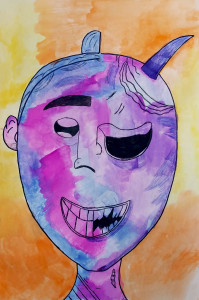 Traditional Noh Mask & Anime Inspired Student Self-Portrait